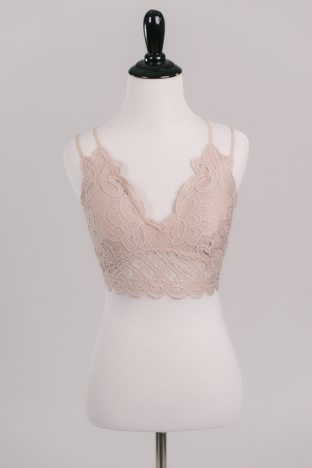 Goddess Scalloped Lace Bralette - Taupe