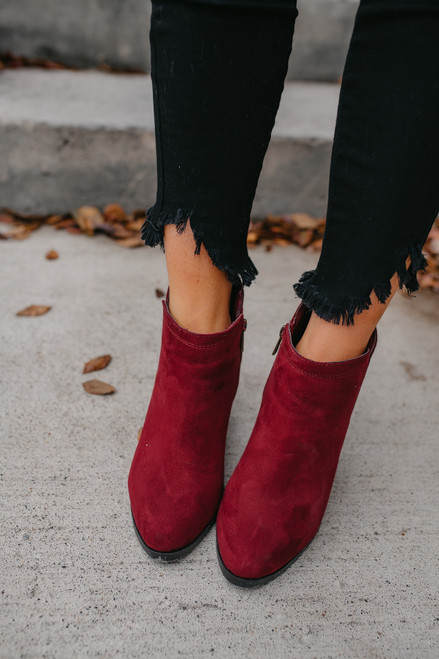 Woven Detail Booties - Burgundy