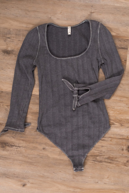 Free People Move On Grey Bodysuit