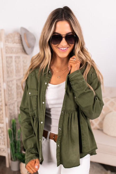 Free People Dylan Army Babydoll Top