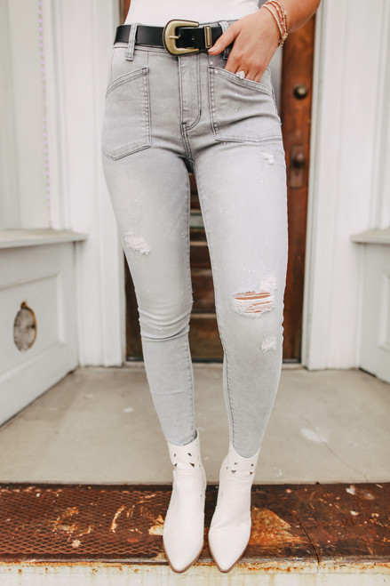 Free People Ivy Grey Midrise Skinny