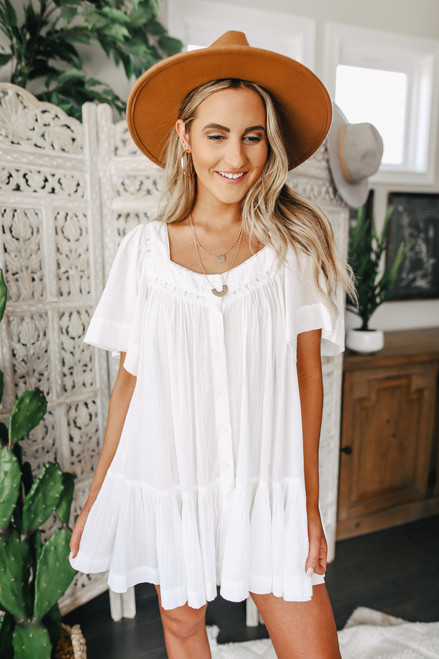 Free People Hearts Desire Solid White Tunic
