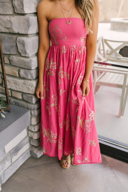 Free People Baja Babe Pink Midi Dress