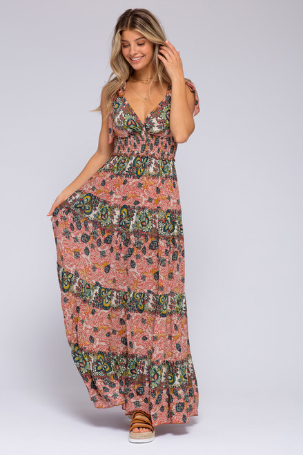 Free People Let's Smock About It Red Maxi
