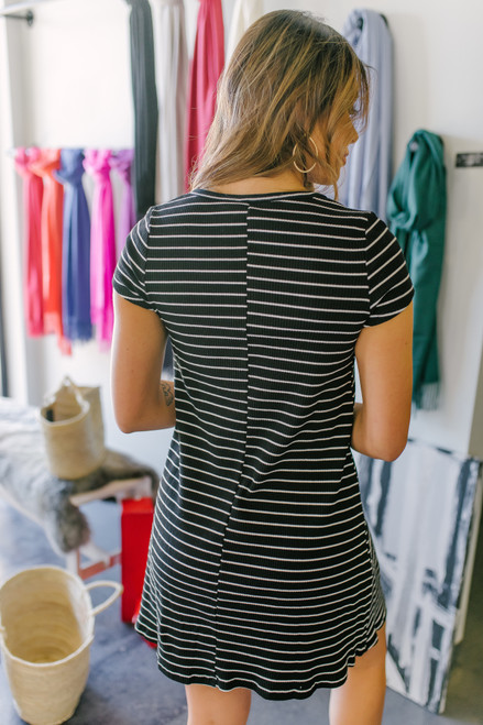 Henley Ribbed Black Striped Dress