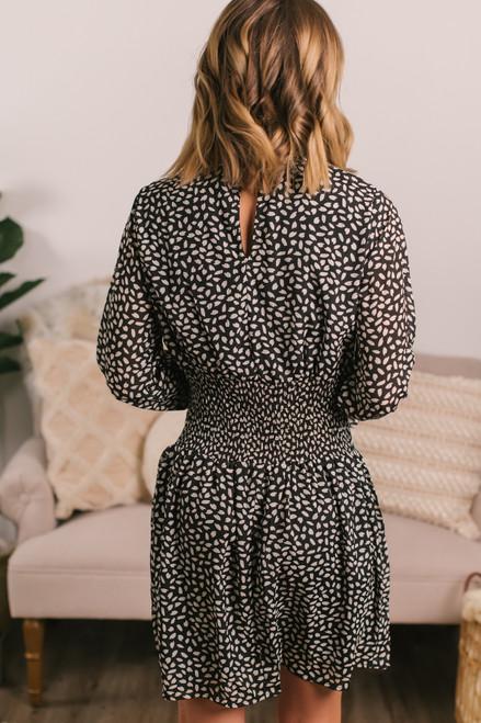 Mock Neck Smocked Waist Black Printed Dress