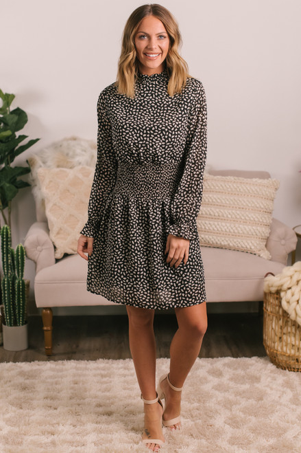 Mock Neck Smocked Waist Black Printed Dress