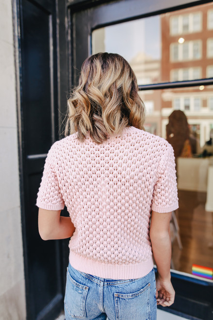 Short Sleeve Rose Honeycomb Sweater