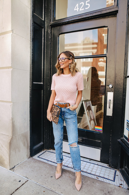 Short Sleeve Rose Honeycomb Sweater