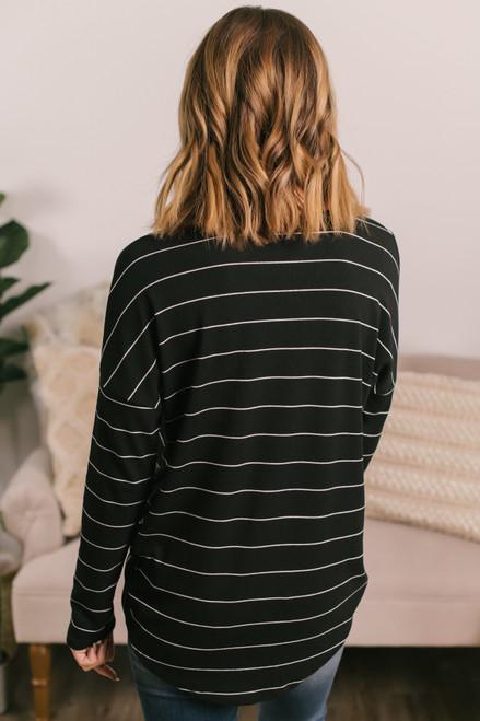V-Neck Black Striped Twisted Hem Top