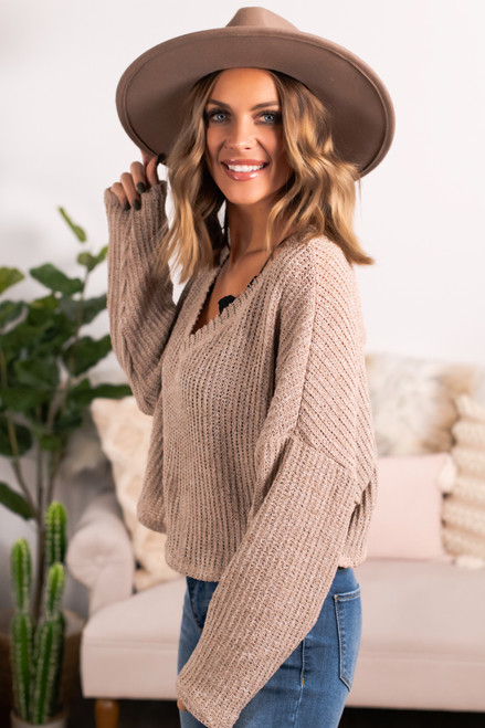 V-Neck Cropped Sweater - Oatmeal