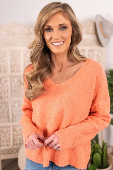 V-Neck Peach Boucle Sweater