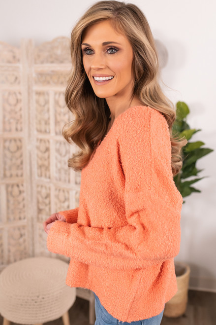 V-Neck Coral Boucle Sweater