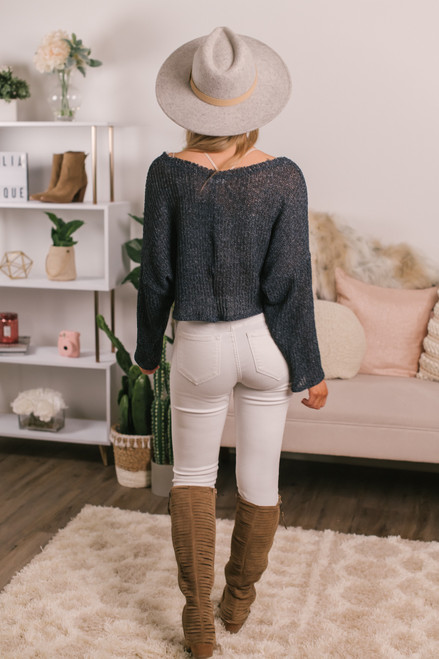 V-Neck Cropped Sweater - Navy