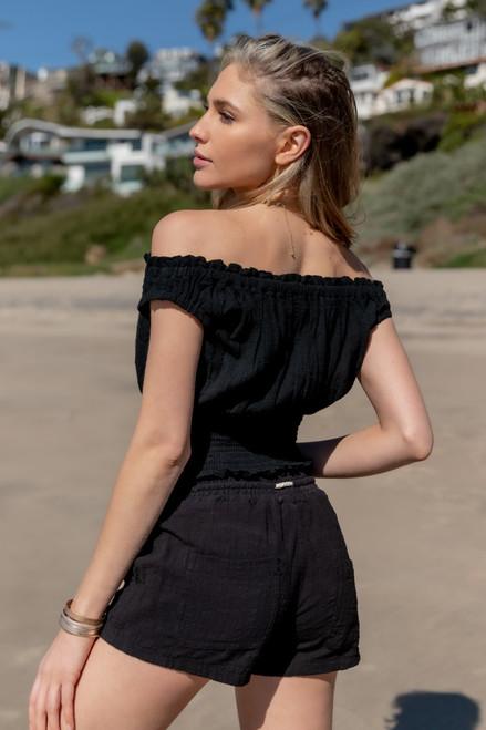 Vintage Havana Black Linen Shorts