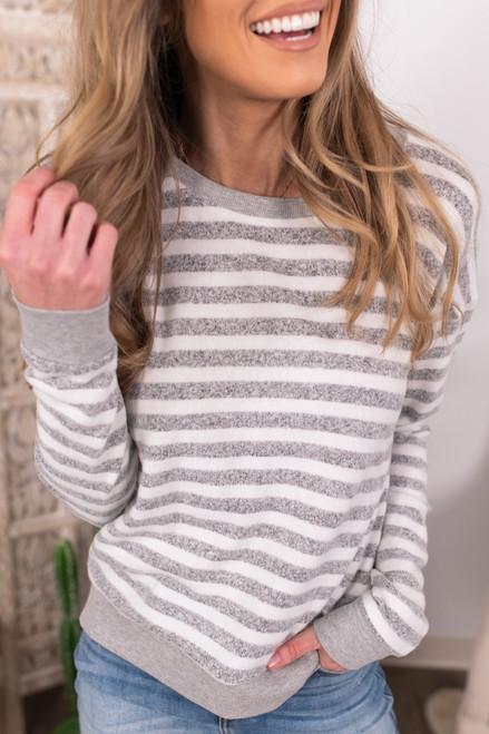 Vintage Havana Grey Striped Brushed Pullover