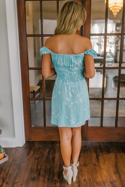 Vintage Havana Smocked Aqua Printed Dress