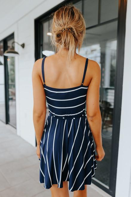 Ocean Drive Tie Waist Navy Striped Dress