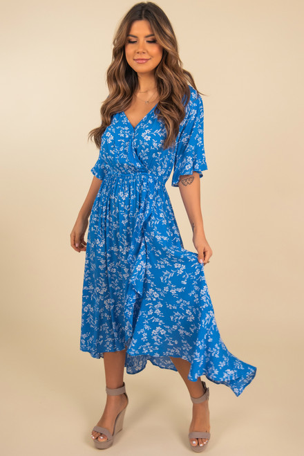 Faux Wrap High Low Blue Floral Midi Dress