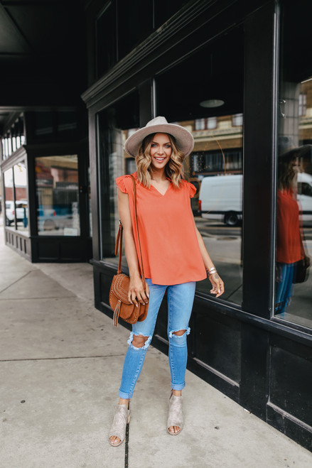 V-Neck Orange Ruffled Sleeve Blouse