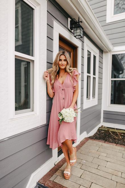 Button Down Rose Midi Dress