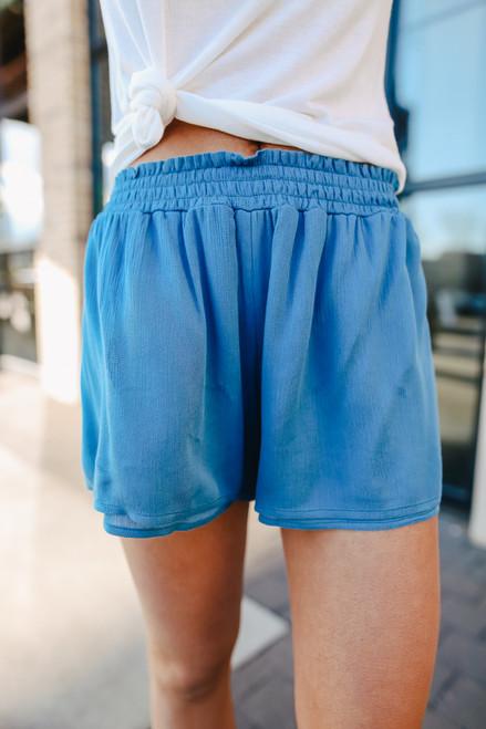 Smocked Waist Teal Layered Shorts