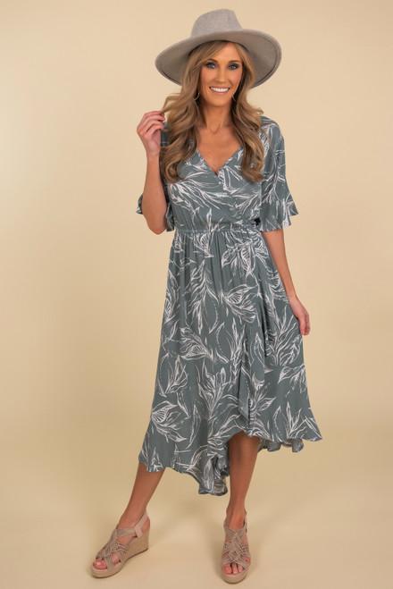 Short Sleeve Sage Printed High Low Dress