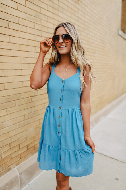 Button Down Blue Ruffle Hem Dress