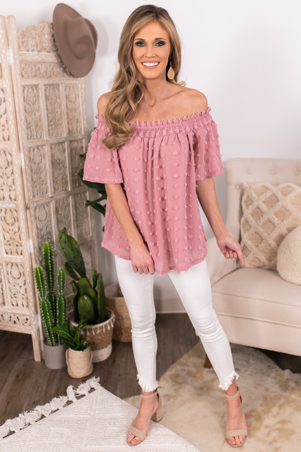 Off the Shoulder Mauve Pom Top