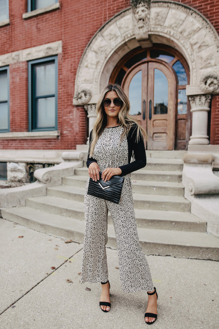 Button Detail Cheetah Overall Jumpsuit