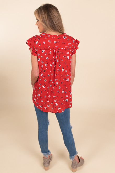 V-Neck Ruffle Sleeve Red Floral Blouse