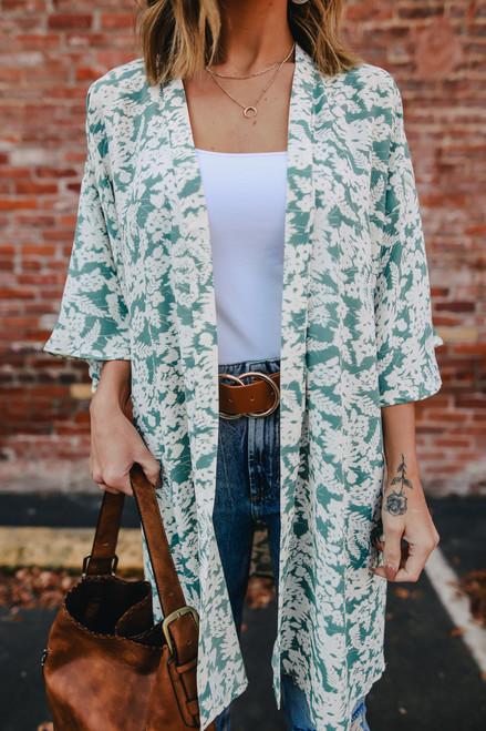 Sweet Talk Sage Floral Kimono