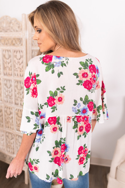 Button Down Empire Floral Top
