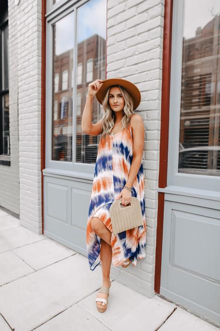 V-Neck Tie Dye Sharkbite Midi Dress