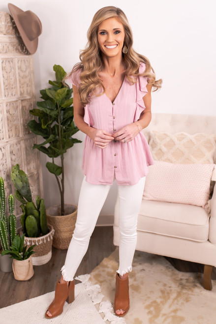 Ruffle Sleeve Pink Button Down Top