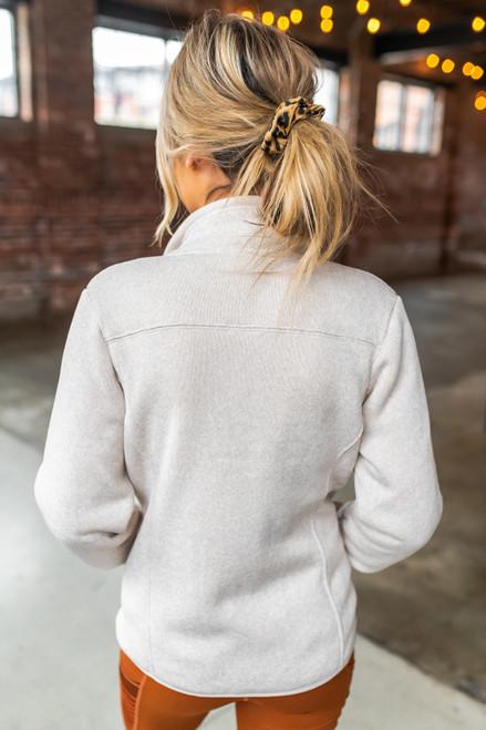 Sherpa Lined Natural Zip Up Jacket