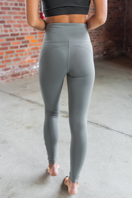 Cutout Detail Dusty Sage Leggings