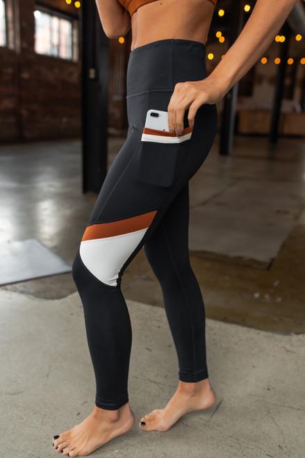 High Waist Navy Colorblock Leggings
