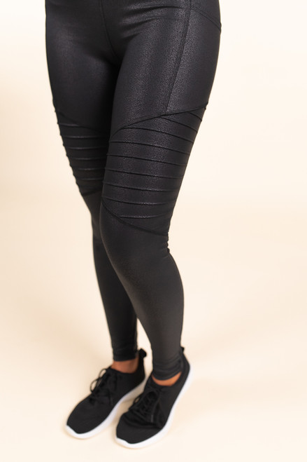 High Waist Black Foil Moto Leggings