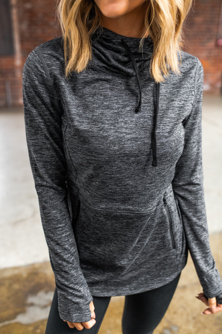 Drawstring Charcoal Active Hoodie
