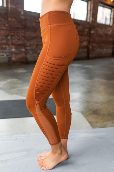 Mesh Detail Moto Crop Maple Leggings