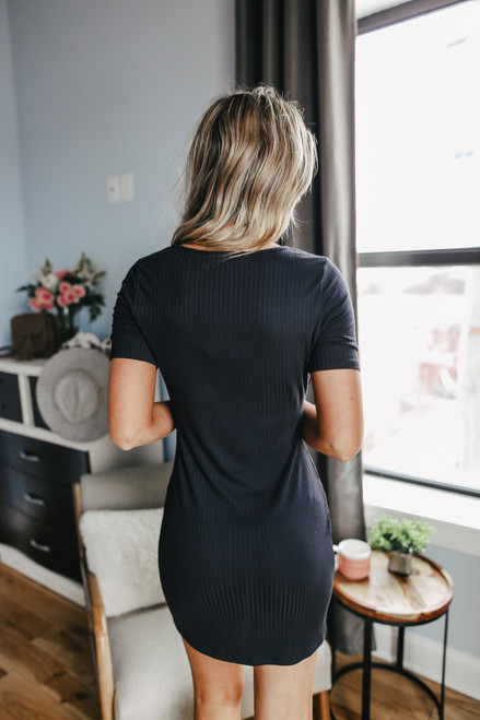 Sadie & Sage Sure Shot Black Knit Dress