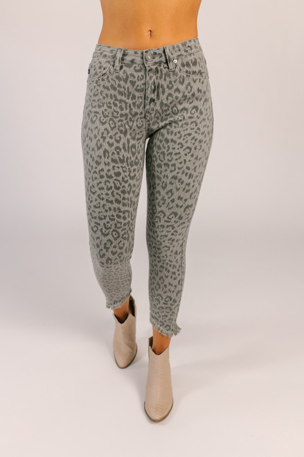 Leopard Skinny Jeans - Grey