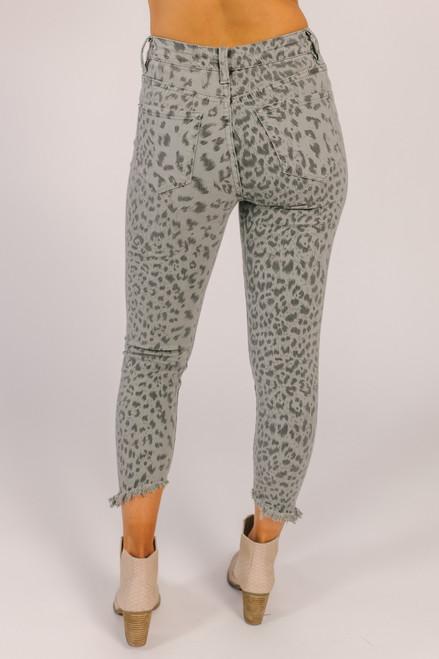 Leopard Skinny Jeans - Grey - FINAL SALE