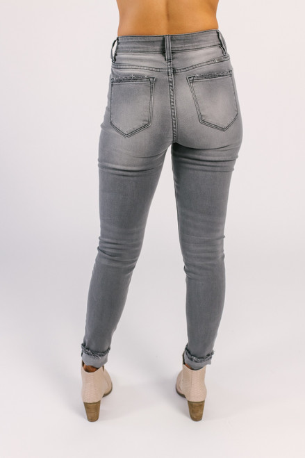 High Hopes Distressed Skinny Jeans - Grey - FINAL SALE