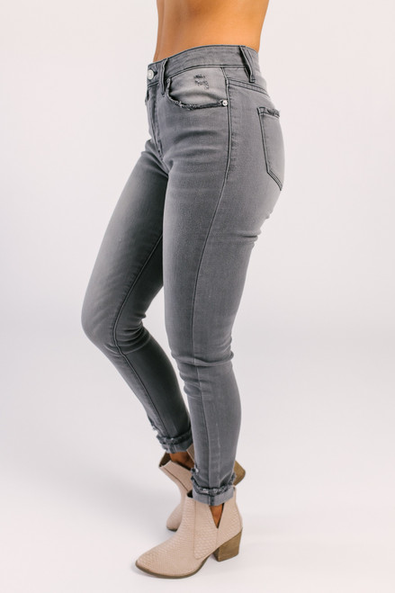 High Hopes Distressed Skinny Jeans - Grey