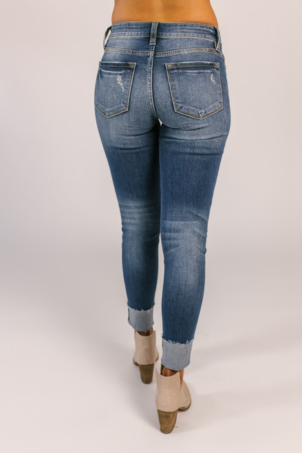 Gemma Distressed Skinny Jeans - Dark Wash