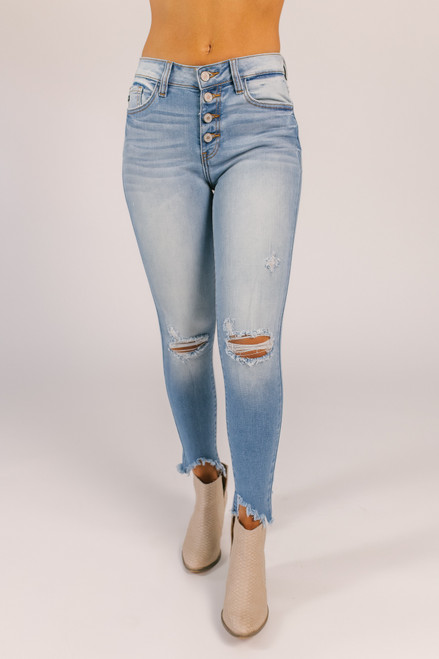 4-Button Distressed Skinny Jeans - Medium Wash