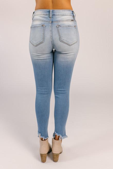 4-Button Distressed Skinny Jeans - Medium Wash