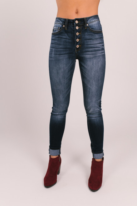 5-Button Skinny Jeans - Dark Wash